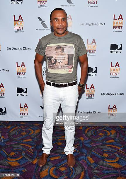 Boxer Sugar Ray Leonard attends the Tapia premiere during the 2013 Los Angeles Film Festival at Regal Cinemas LA Live on June 19 2013 in Los Angeles...