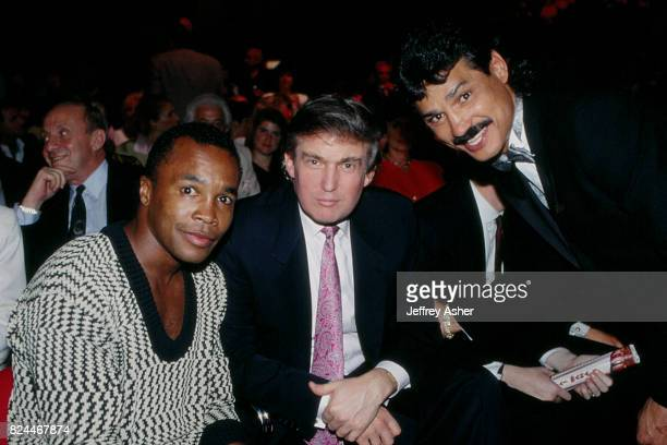 Boxer Sugar Ray Leonard Businessman Donald Trump and Boxer Alexis Arguello at Tyson vs Spinks Convention Hall in Atlantic City New Jersey June 27 1988