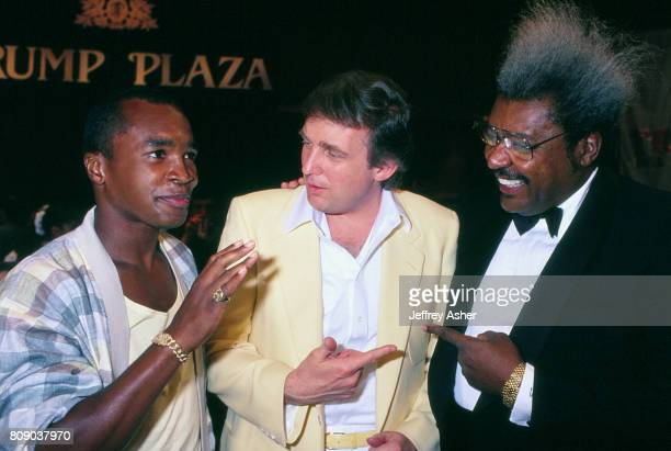 Boxer Sugar Ray Leonard Businessman Donald Trump and Boxing Promoter Don King at Tyson vs Spinks weigh in at Trump Plaza Casino Hotel in Atlantic...