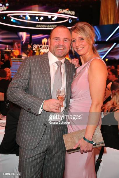 Boxer Sven Ottke and his wife Monic Frank during the 'Sportler des Jahres 2019' Gala at Kurhaus BadenBaden on December 15 2019 in BadenBaden Germany