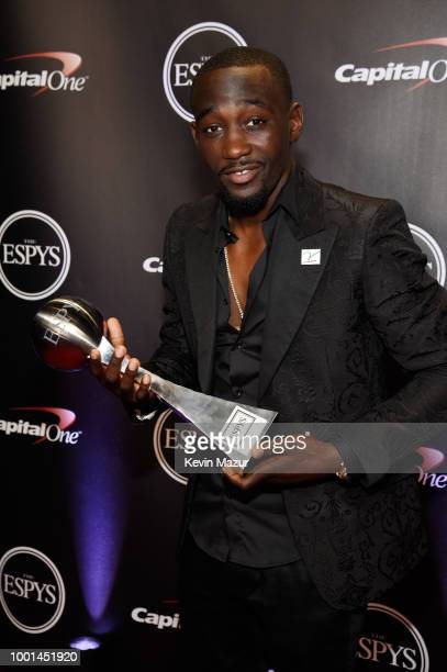 Boxer Terence Crawford poses with his award at The 2018 ESPYS at Microsoft Theater on July 18 2018 in Los Angeles California