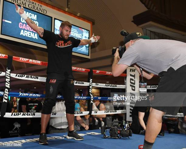 Boxer Tom Schwarz poses in the ring for photographer Mikey Williams after working out at MGM Grand Hotel & Casino on June 11, 2019 in Las Vegas,...