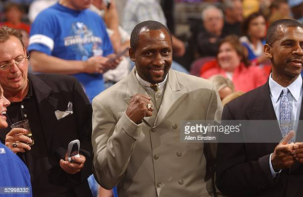 Boxer Tommy Hearns watches the Detroit Pistons take on the Miami Heat in Game three of the Eastern Conference Finals during the 2005 NBA Playoffs at...