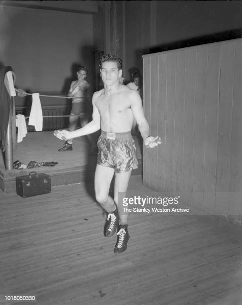 A boxer trains with the jumprope in Stillman's Gym circa 1955 in New York City New York