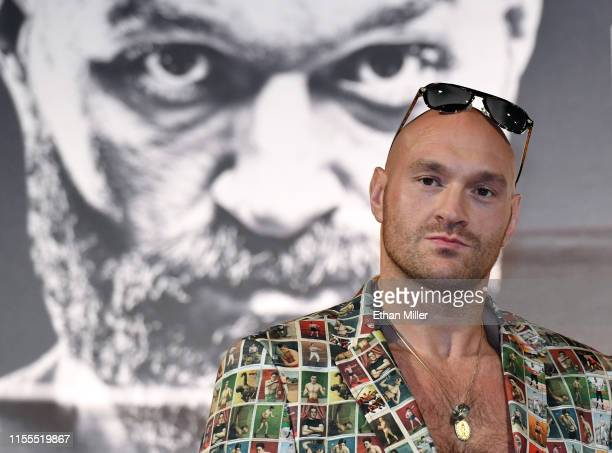 Boxer Tyson Fury attends a news conference at MGM Grand Hotel Casino on June 12 2019 in Las Vegas Nevada Fury will face Tom Schwarz in a heavyweight...