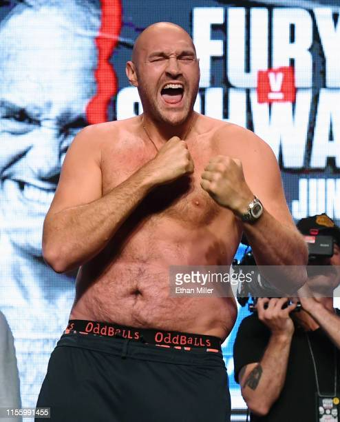 Boxer Tyson Fury poses during a ceremonial weighin at MGM Grand Garden Arena on June 14 2019 in Las Vegas Nevada Fury will meet Tom Schwarz in a...
