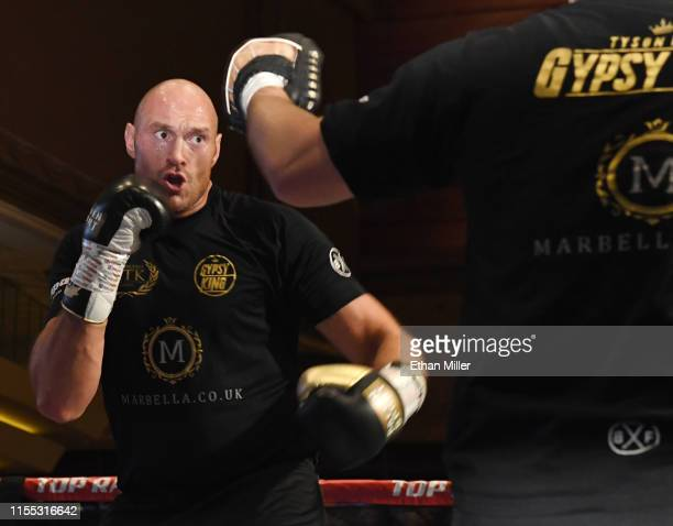Boxer Tyson Fury works out at MGM Grand Hotel & Casino on June 11, 2019 in Las Vegas, Nevada. Fury will face Tom Schwarz in a heavyweight bout on...
