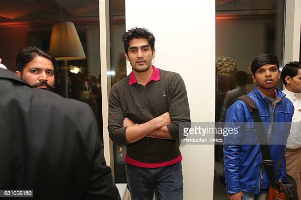 Boxer Vijender Singh during an engagement ceremony of Hisar MP Dushyant Chautala and Meghna Ahlawat on January 3 in Gurgaon India Dushyant is the...