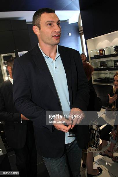 Boxer Vitali Klitschko attends the reception during the Montblanc White Nights Festival at Montblanc Boutique on Nevsky Prospekt on June 18 2010 in...