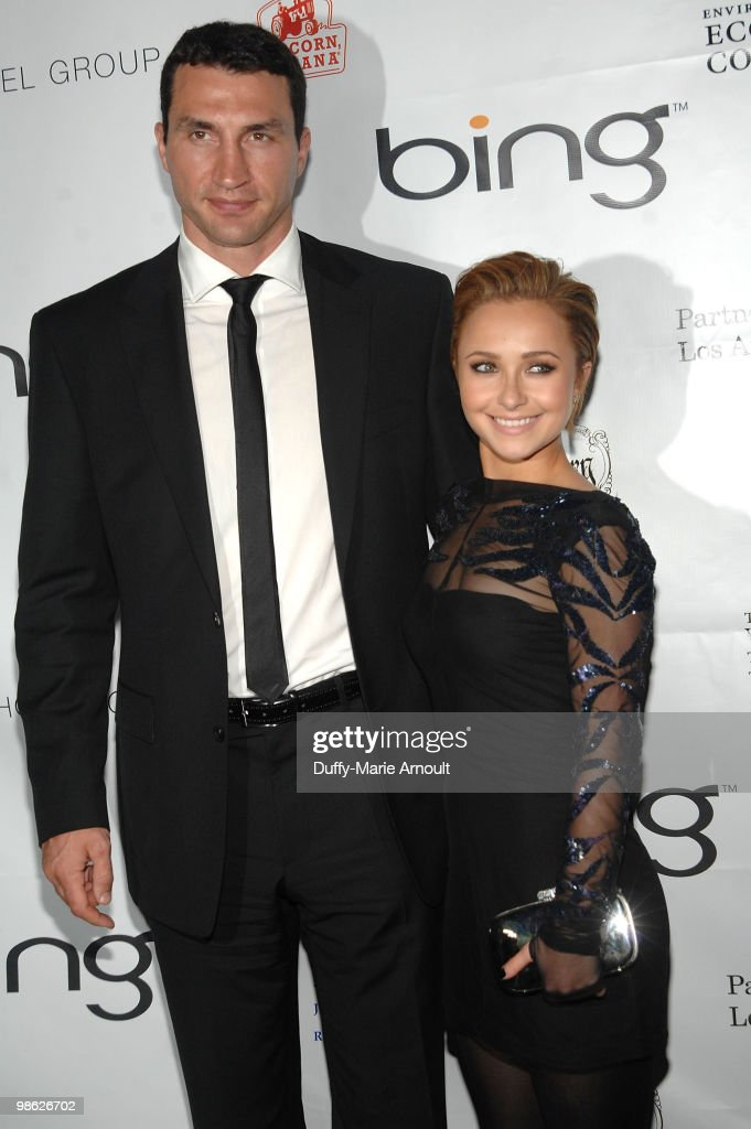 Boxer Vladimir Klitschko and actress Hayden Panettiere attend Global Home Tree event celebrating the 40th Anniversary of Earth Day at JW Marriott Los Angeles at L.A. LIVE on April 22, 2010 in Los Angeles, California.