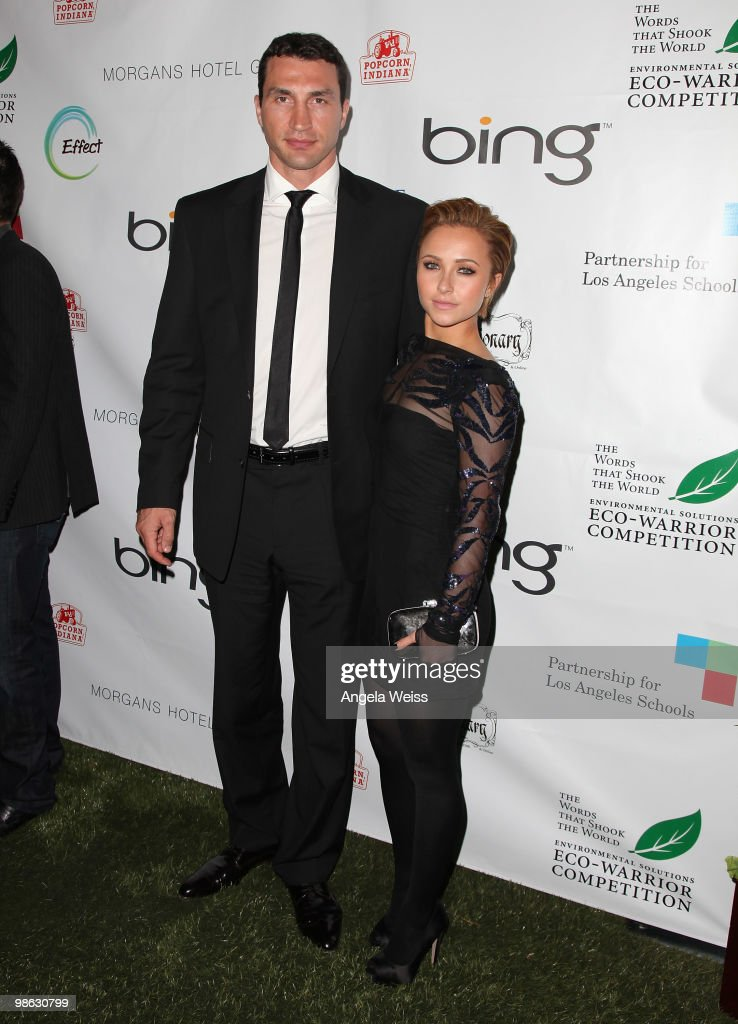 Boxer Vladimir Klitschko and actress Hayden Panettiere attend the 'Global Home Tree' Earth Day VIP reception hosted by James Cameron at the JW Marriott Los Angeles at L.A. LIVE on April 22, 2010 in Los Angeles, California.