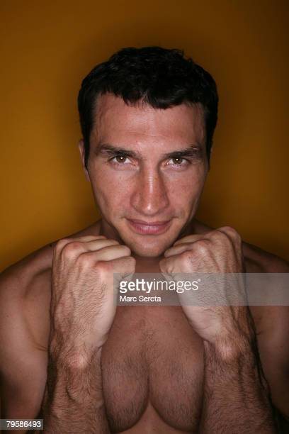 Boxer Wladimir Klitschko poses for photos at the North County Aquatic Complex on February 6 2008 in Palm Beach Gardens Florida The IBF IBO and WBO...