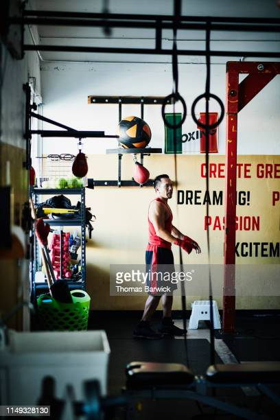 Boxer working out in boxing gym