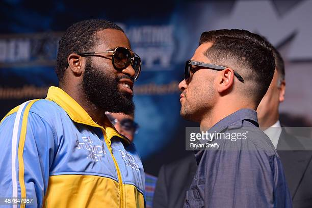 Boxers Adrien Broner and Carlos Molina face off during the undercard final press conference at the MGM Grand Hotel/Casino on May 1 2014 in Las Vegas...