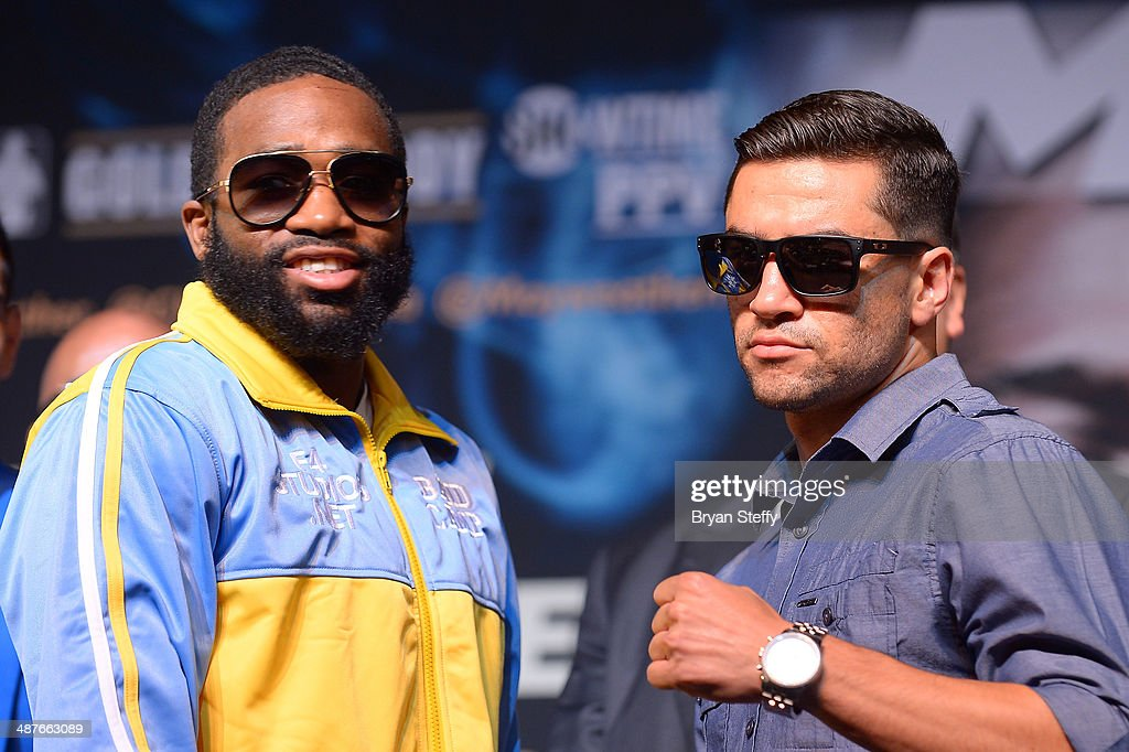 Boxers Adrien Broner and Carlos Molina pose during the undercard final press conference at the MGM Grand Hotel/Casino on May 1, 2014 in Las Vegas, Nevada.