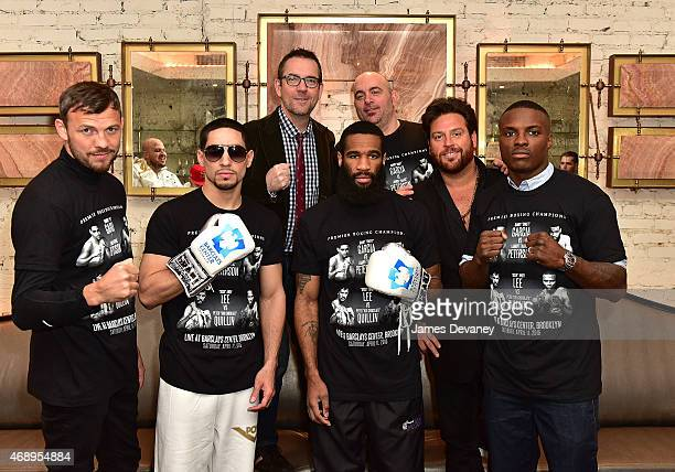Boxers Andy Lee Danny Garcia Lamont Peterson and Peter Quillin meet with 'Chopped' Judges Ted Allen Chris Santos and Scott Conant to promote upcoming...