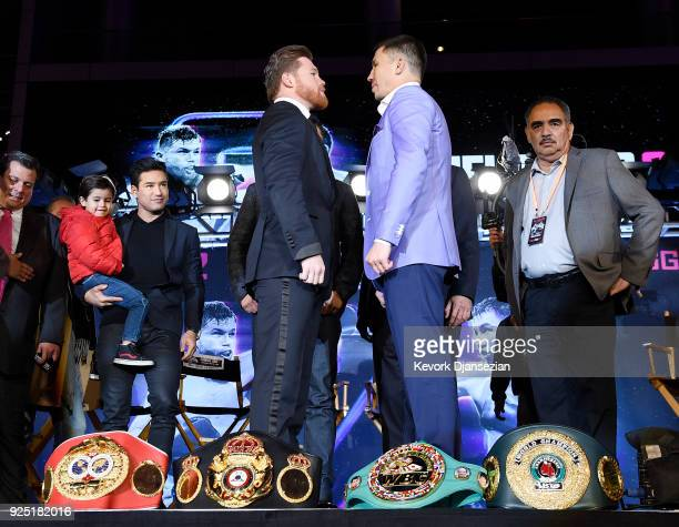 Boxers Canelo Alvarez and Gennady Golovkin face off after a news conference at Microsoft Theater at LA Live to announce their upcoming rematch on...