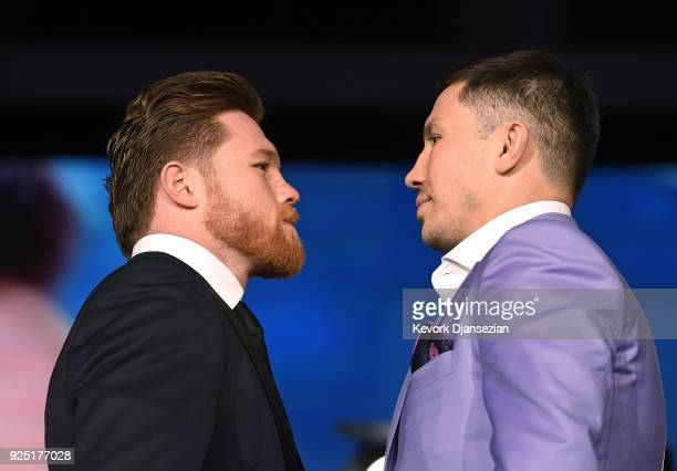 Boxers Canelo Alvarez and Gennady Golovkin face off during a news conference at Microsoft Theater at LA Live to announce their upcoming rematch on...