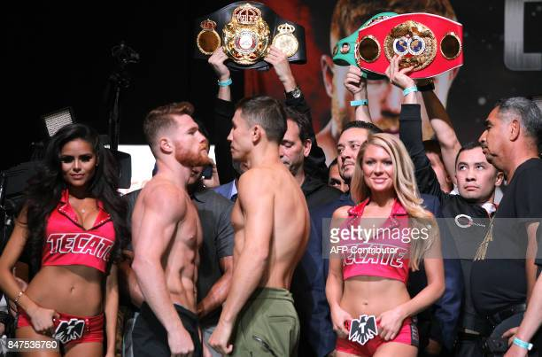 Boxers Canelo Alvarez and Gennady Golovkin faceoff during their weighin at the MGM Grand Hotel Casino on September 15 2017 in Las Vegas Nevada...