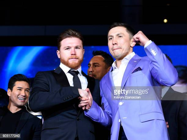 Boxers Canelo Alvarez and Gennady Golovkin pose during a news conference at Microsoft Theater at LA Live to announce their upcoming rematch on...