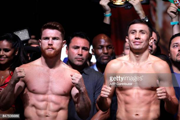 Boxers Canelo Alvarez and Gennady Golovkin pose during their weighin at the MGM Grand Hotel Casino on September 15 2017 in Las Vegas Nevada Alvarez...