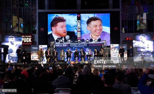 Boxers Canelo Alvarez and Gennady Golovkin take part in a news conference at Microsoft Theater at LA Live to announce their upcoming rematch on...