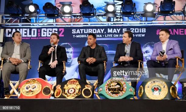 Boxers Canelo Alvarez and Gennady Golovkin take part in a news conference with Eddy Reynoso trainer of Alvarez Oscar De La Hoya promoter of Alvarez...