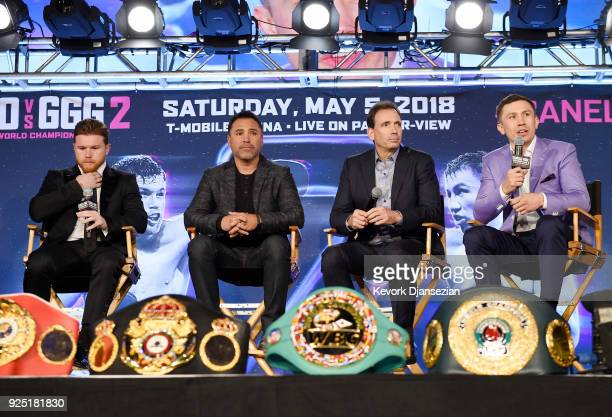 Boxers Canelo Alvarez and Gennady Golovkin take part in a news conference with Oscar De La Hoya promoter of Alvarez and Tom Loeffler promoter of...