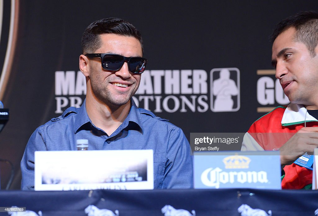 Boxers Carlos Molina (L) and Marco Periban attend the undercard final press conference at the MGM Grand Hotel/Casino on May 1, 2014 in Las Vegas, Nevada.