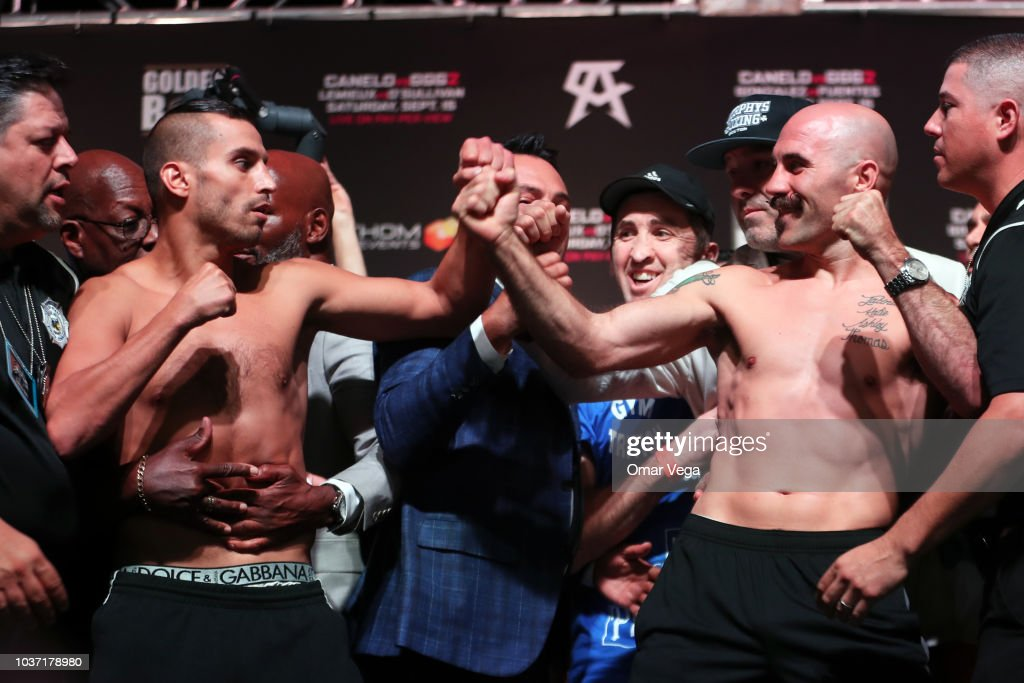 Boxers David Lemieux and Gary O'Sullivan face to face during the official Weigh-in at T-Mobile Arena on September 14, 2018 in Las Vegas, Nevada.