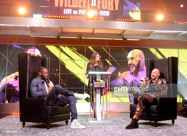 Boxers Deontay Wilder and Tyson Fury attend a press conference in Los Angeles California on January 25 ahead of their rematch fight in Las Vegas on...