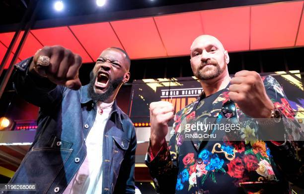 Boxers Deontay Wilder and Tyson Fury faceoff during a press conference in Los Angeles California on January 25 ahead of their rematch fight in Las...