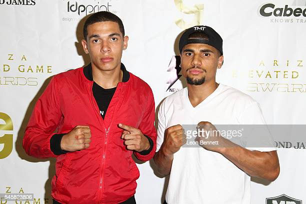 Boxers Devon Lee and Maurice Lee attends Trevor Ariza's 2nd Annual AEGA Celebrity Basketball Game at Taft High School on July 9 2016 in Woodland...