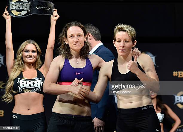 Boxers Diana Prazak and Layla McCarter appear during the BKB 2 weighin at the Mandalay Bay Events Center on April 3 2015 in Las Vegas Nevada The two...