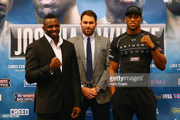 Boxers Dillian Whyte and Anthony Joshua face off during the Anthony Joshua Dillian Whyte HeadtoHead Press Conference at the Four Seasons Hotel on...