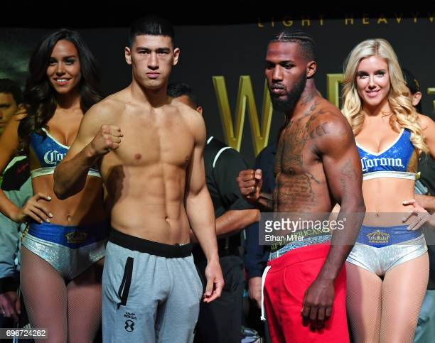 Boxers Dmitry Bivol and Cedric Agnew pose during their official weighin at the Mandalay Bay Events Center on June 16 2017 in Las Vegas Nevada The...