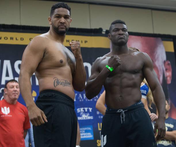 British Boxer Anthony Joshua (L) And US Boxer Dominic