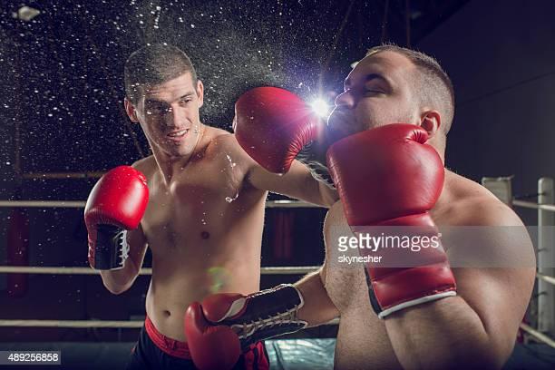 ボクサーの戦いでボクシングリング。 - ノックアウト ストックフォトと画像
