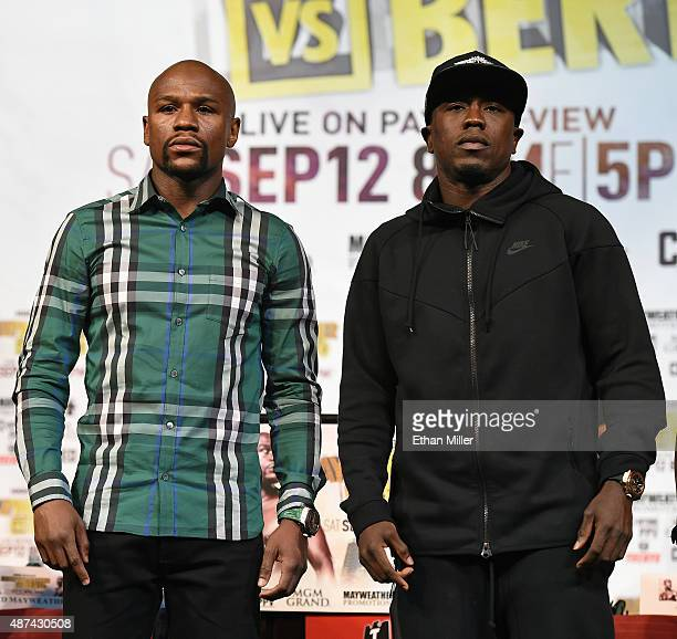 Boxers Floyd Mayweather Jr and Andre Berto pose during a news conference at MGM Grand Hotel Casino on September 9 2015 in Las Vegas Nevada Mayweather...