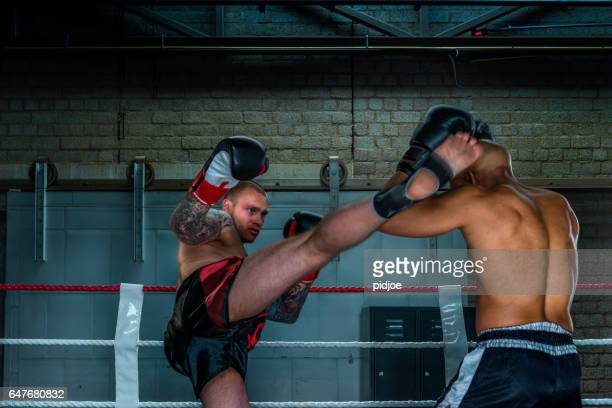 Boxers free fighting in boxing ring