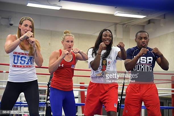 S boxers from left Mikaela Mayer Ginny Fuchs Claressa Shields and Charles Conwell film an Olympic promotion at the US Olympic Training Center June 23...