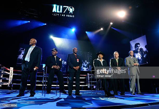 Boxers George Foreman, Leon Spinks, Earnie Shavers, Ken Norton, George Chuvalo and Chuck Wepner appear onstage at the Keep Memory Alive foundation's...