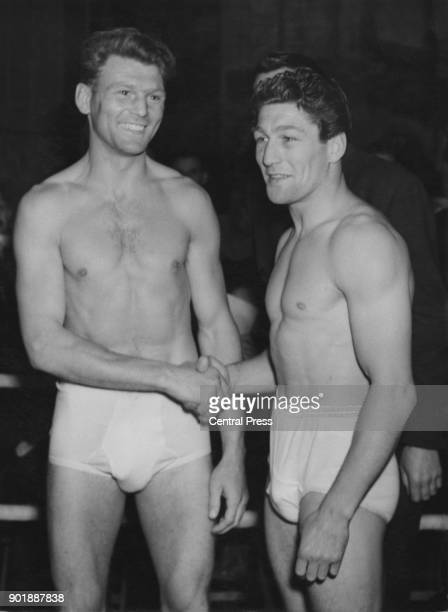 Boxers Gwyn Williams and Eric Boon weigh in at Solomons' Gym for their welterweight fight in Harringay Arena later that night London 31st May 1948