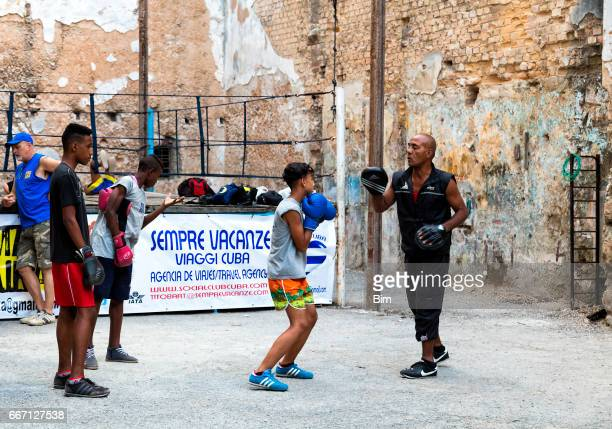 boxers in havana, cuba - center athlete stock photos and pictures
