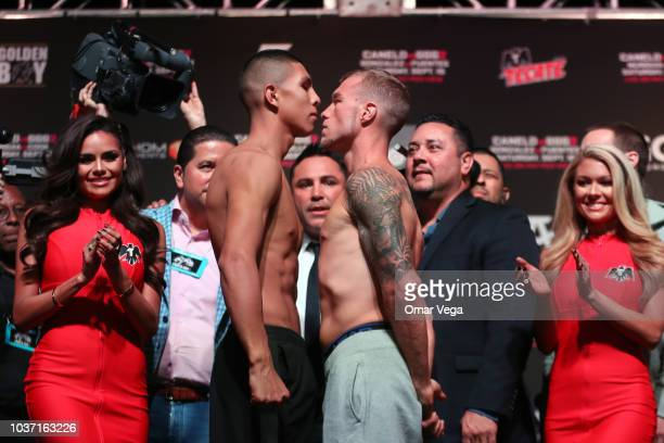 Boxers Jaime Munguia and Brandon Cook face to face during the official Weighin at TMobile Arena on September 14 2018 in Las Vegas Nevada