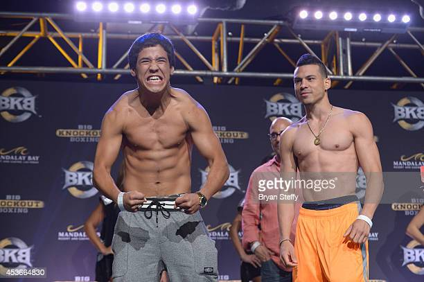 Boxers Kendo Castaneda and Gabe Duluc pose during the official weighin for the inaugural BKB fight at the Mandalay Bay Events Center on August 15...