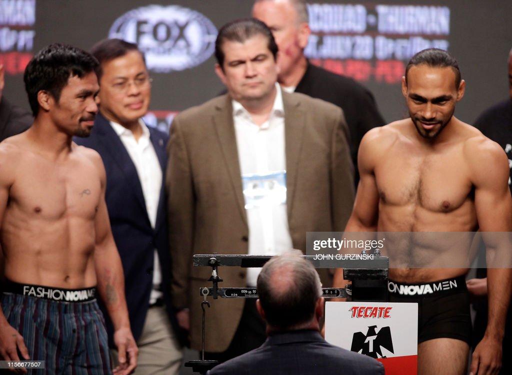 BOX-WBA-WELTERWEIGHT-PHI-USA-Pacquiao-Thurman : News Photo