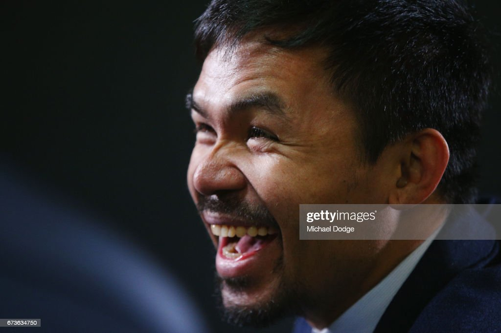 Boxers Manny Pacquiao of the Philippines reacts during a press conference at Invictus Gym on April 27, 2017 in Melbourne, Australia. Pacquiao will fight Australian Jeff Horn.