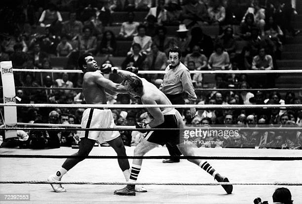 Boxers Muhammad Ali, & Chuck Wepner in action during their heavyweight title fight.