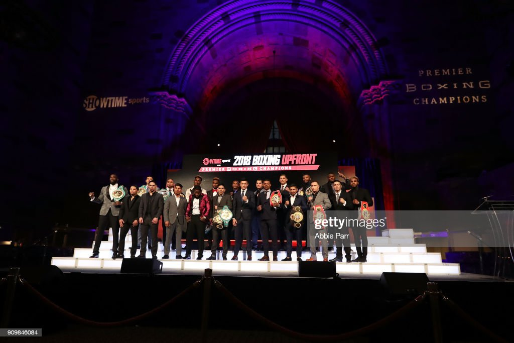 Boxers participating in the 2018 Showtime championship boxing schedule pose during the 2018 Showtime Championship Boxing Event at Cipriani 42nd Street on January 24, 2018 in New York City.